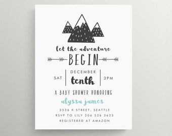 mountain adventure baby shower invitation set // thank you note // announcement // note card // adventure awaits // nature // hiking