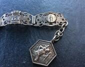 Lourdes souvenir bracelet filigree vintage