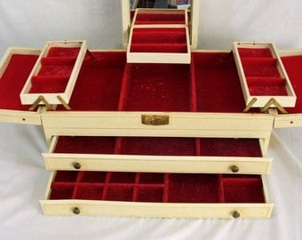 Large Jewelry Box, Multi Level with 2 Large Drawers