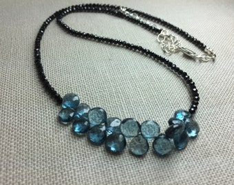 Black Spinel Necklace with London Blue Topaz Briolettes in Sterling Silver