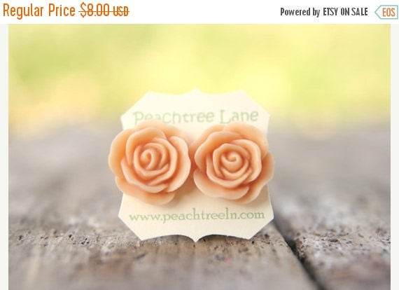 MOTHERS DAY SALE Large Peach Rose Flower Stud Earrings // Bridesmaid Gifts // Outdoor Rustic Wedding // Bridal Shower Gifts
