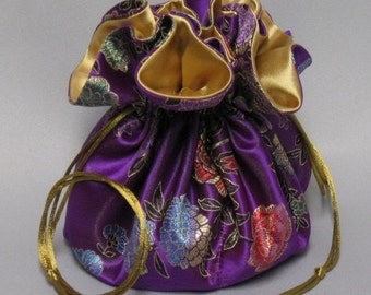 Jewelry Travel Tote---Satin Brocade Drawstring Organizer Pouch---Purple Floral Design---Large Size