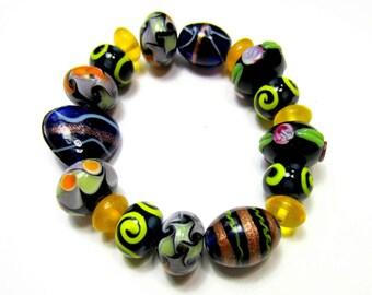 18 lampwork beads handmade Abstract design beads diy jewelry supplies black yellow glass beads 10mm x 15m assorted sizes (SB1)