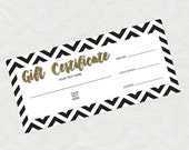printable gift certificate - gold glitter black chevron christmas business marketing promotion, download editable file last minute gift idea