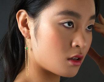 Green Onyx Gold Chain earrings - long statement gemstone earrings - shoulder dusters