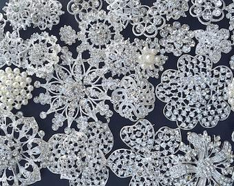 32 pc Silver Brooch Bouquet DIY Kit wholesale assorted lot set crystal rhinestone Bridal Wedding brooch button Decoration BR668