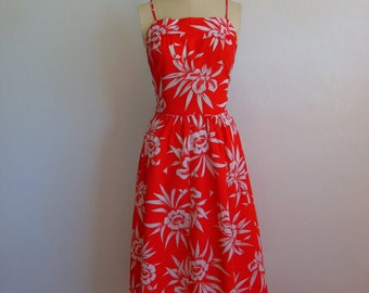 80s does 50s Open Back tropical print SUNDRESS size medium