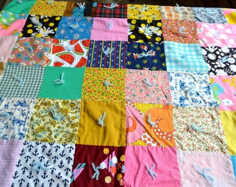 Vintage Patchwork Quilt Throw - 35 x 44