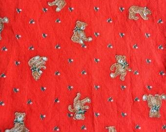 Vintage Fabric - Christmas Teddy Bears and Holly