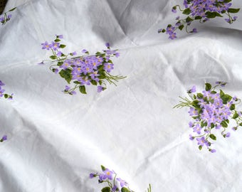 Vintage Bed Sheet - Violets Bouquets - Cannon Twin Fitted
