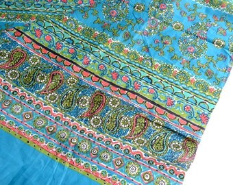 Vintage Fabric - Cortley Turquoise and Coral Paisley - 37 x 36 Border Print