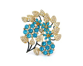 1930s Aquamarine Blue Rhinestone Flower Brooch • Enamel Floral Bouquet Pin • Vintage 30s Jewelry