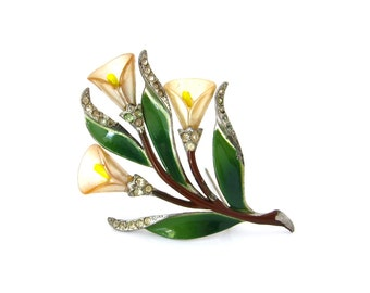 CORO Calla Lily Enamel Flower Brooch | Molded Plastic Floral Rhinestone Pin | Vintage 1940s Jewelry
