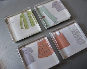 Laundry Clothesline - square glass magnets - set of 4