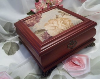 MINT Gorgeous Warm Walnut Toned Wood Floral Tapestry Jewelry Box - Storage - Womens - Vanity - Dresser
