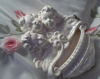 MINT Gorgeous Opalescent Triple Angel / Cherub Wall Sconce  - Home Decor - Shabby Chic - Country French - Wall Decor - Vintage