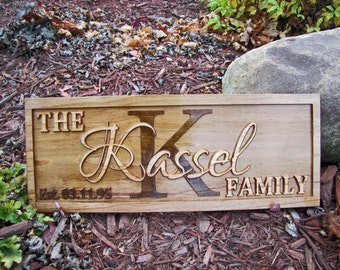 Personalized Family Name Signs Personalized Wedding Gift Monogram Sign 3D initial Wood work carving Established Last Name custom lovejoys