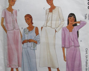 McCalls 2690, Uncut Sewing Pattern, Misses Easy Sew Twin-set and Skirt, Size 8-10-12, 2000