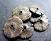 Beads Ceramic 'Satin Stone' Rustic Disc Beads' Handmade Clay Pottery 401