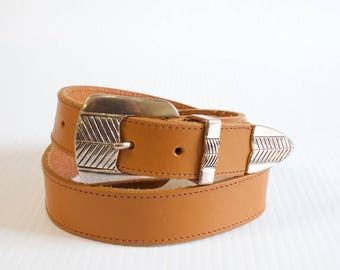 Vintage Unisex Tan brown western leather belt size medium