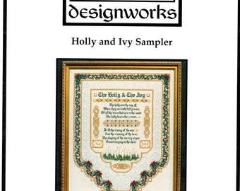 Holly and Ivy Sampler Christmas Carol Red Green Border Gold Celtic Knots Decorative Stitch Needlepoint Embroidery Craft Pattern Sheets