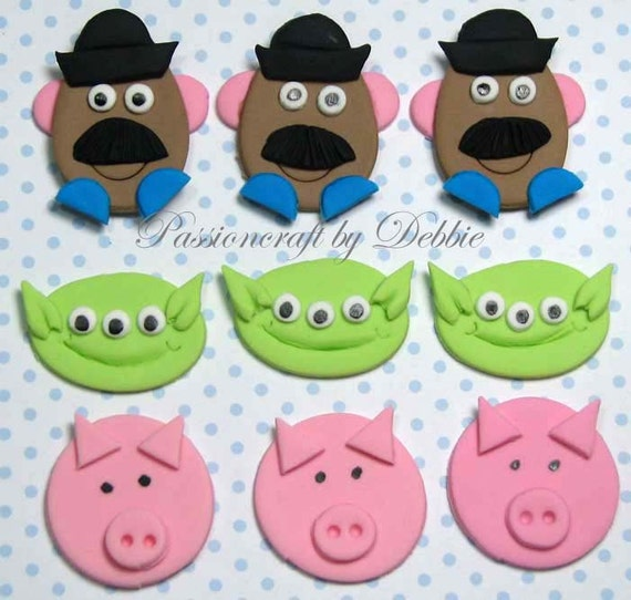 Fondant edible cupcake toppers- Toy Story 3 Potato Head Aliens Pig birthday boy girl celebration