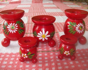 Set of 5 Red Swedish Wooden Candleholders