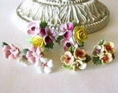Lot of 3 Pr. Vintage Floral Earrings China Porcelain Celluloid for Wear or Crafting