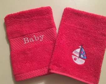 Baby Wash Mitts/Sailboat/Baby Bath - Set of 2