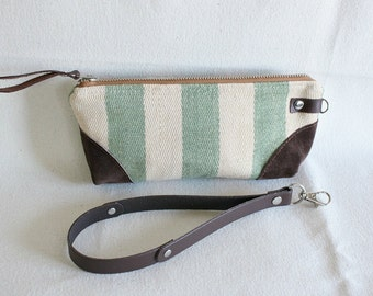 Stripe wristlet, pouch, clutch, wallet, IPhone pouch, bridesmaid gift Mint Green with leather trim - READY--