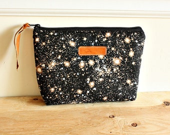 Galaxy star Pouch/clutch/ Zipper purse/ makeup bag /leather trim- Ready