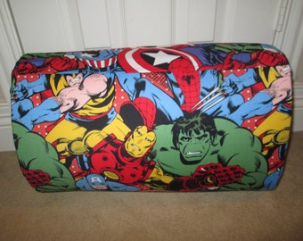 MONOGRAMMED Children THICK COMFY Nap Mat PreSchool Marvel Super Heros  with Attached Black  Cuddle Double Sided Minky Blanket Pillow