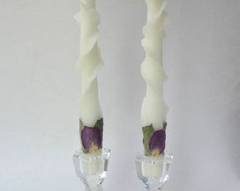 Unique Taper Candles, You Pick Petal Color, Glitter, Beeswax Rose Candles, Wedding Candles, Decorative Candles, Anniversary Gift, Birthday