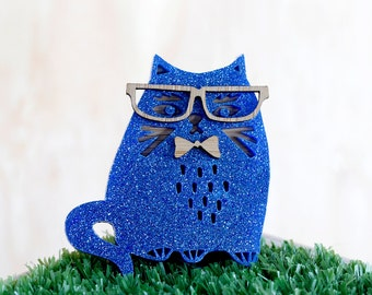 Geeky Blue Cat Brooch, Hipster Cat, Quirky Cat Brooch, Bespectacled Cat