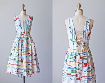80s Dress - Vintage 1980s Dress - Rainbow Tulip Print Full Skirt Princess Sundress w Rear Corset Lacing M - Flower Shop Dress