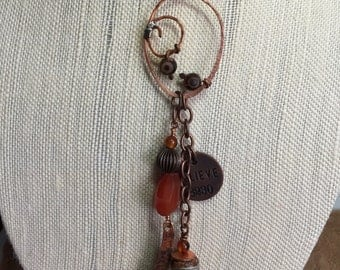 Long dangle necklace, Rust color agate, Tibetan Agate, Copper