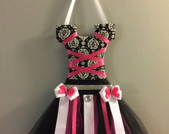 Damask black white and pink tutu hair bow homder with thinestone details