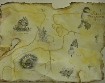 Landscape vintage treasure map birds animals butterfly river lake nature aged antique looking graphite drawing watercolor wash m3artist