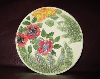 "Sweet Garden Handmade Ceramic wall hanging   5""                                              228"