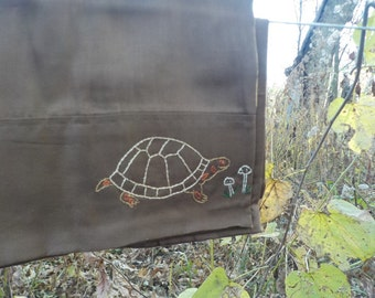 Box turtle and mushroom standard pillowcase-hand stitched
