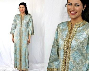 Moroccan Kaftan Brocade Opera Coat Metallic Gold - Ice Blue - Heirloom - Vintage 1960s  - Women - S