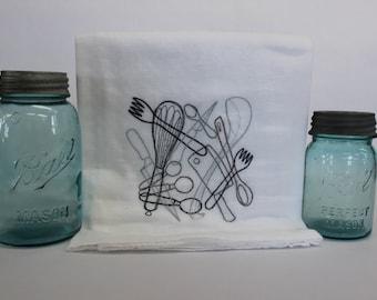 Kitchen Utensils Embroidered Kitchen Flour Sack Towel
