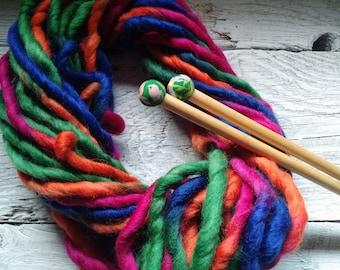 Bright handspun art yarn, Waldorf doll hair, bulky yarn
