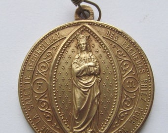 Antique Our Lady Of La Salette Religious Medal Visitation Of The Virgin Mary 1846 Signed Penin   SS156