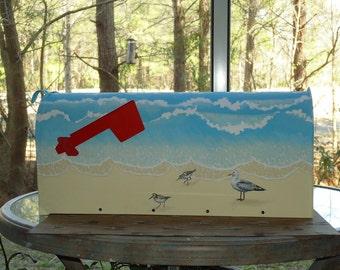 Custom Painted Sandpiper and Beach Mailbox, Beach Decor, Shorebirds Mailbox, Great gift!