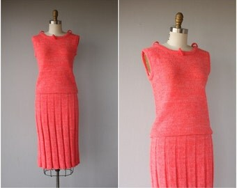 1960s Dress | 60s Dress | 1960s Knit Dress | 60s Knit Dress | 1960s Day Dress | Hot Coral Dress | 60s Skirt Set