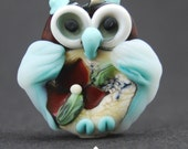 Decorative Lampwork  Owl Focal Etched : SRA Lorraine Dowdle
