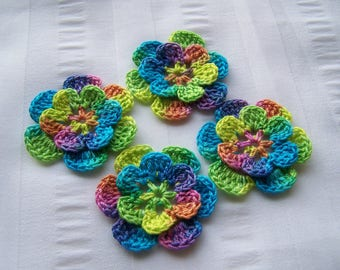 Appliques hand crocheted flowers set of 4 after the rain cotton 1.5 inch