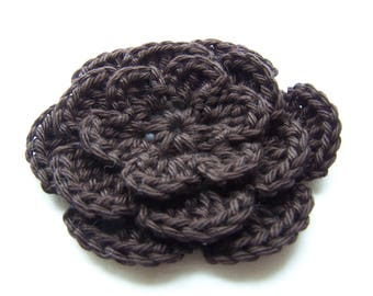 Crochet flower 3 inch Pima cotton dark brown chocolate brown set of one flower