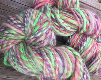 Ahoy me Beauties Handspun yarn Shetland Wool Yarn Bulky Weight Two Ply Spring pasteld 2 Ply 100 yards